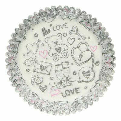 FunCakes Cupcake Cases -LOVE DOODLE -Θήκες Ψησίματος 48 τεμ
