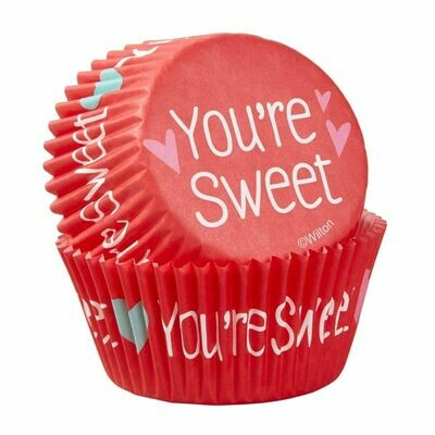 Wilton Valentine Cupcake Cases -'YOU'RE SWEET  -Θήκες ψησίματος 75 τεμ