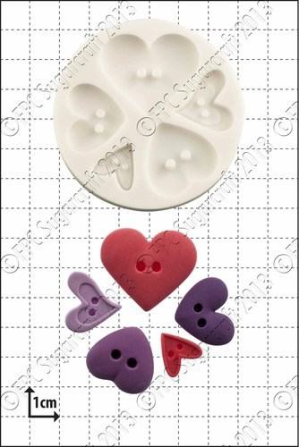 FPC -  Heart Buttons Silicone Μould - Καλούπι Καρδιές Κουμπιά