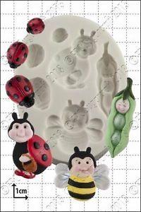 FPC Silicone Mould -PEAPOD BABY & LADYBIRDS -Καλούπι Μωρό Μπιζελάκι & Πασχαλίτσες