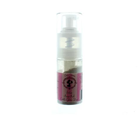 Claire Bowman Pump Spray Edible Glitter Dust -SILVER -Μπουκαλάκι Αντλίας Βρώσιμη Χρυσόσκονη Ασημένια 10γρ