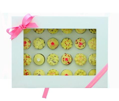 White Mini Cupcake Box -Holds 24 mini cupcakes κουτί με παράθυρο για 24 μίνι κάπκεϊκς 33x24.5x8εκ