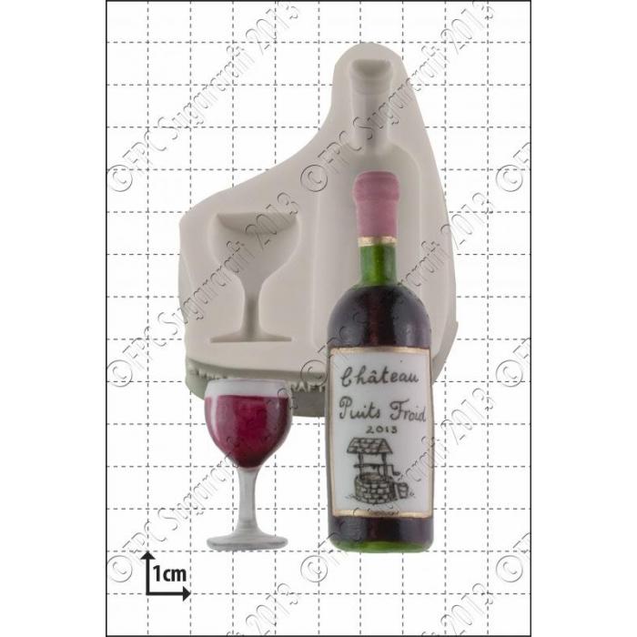 FPC Silicone Mould -WINE BOTTLE & GLASS -Καλούπι Μπουκάλι Κρασί με Ποτήρι
