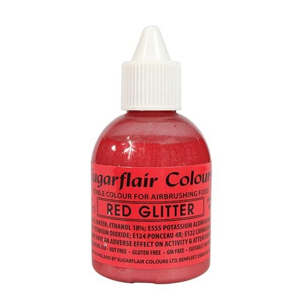 Sugarflair Airbrush Colour -GLITTER -RED -Χρώμα Αερογράφου 60ml