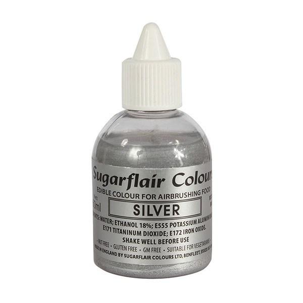 Sugarflair Airbrush Colour -METALLIC SILVER -Χρώμα Αερογράφου 60ml μεταλλικό ασημί