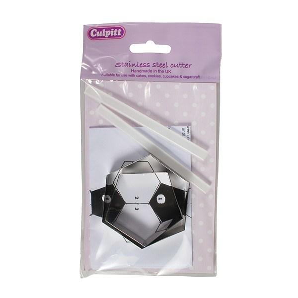 Culpitt - Pentagon & Hexagon Cutters To Cover Ball Shaped Cakes - Πεντάγωνα & Εξάγωνα Κουπάτ Για Κάλυψη Σφαιρικών Κέικ - 56x32χιλ + 52x50χιλ - 2τεμ/πακέτο