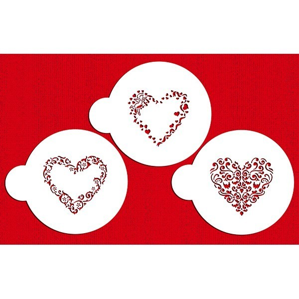 SALE!!! Designer Stencils - Valentine Hearts - Στένσιλ με Θέμα Καρδούλες Αγίου Βαλεντίνου - 3τεμ/πακέτο - Περίπου 3.5εκ