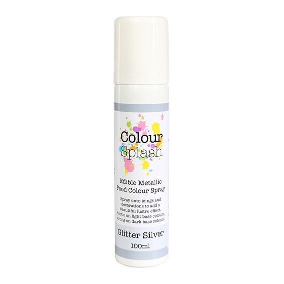Colour Splash - Edible Food Colour Spray Metallic Glitter Silver - Βρώσιμο Σπρέϊ με Χρώμα - Ασημί Μεταλλικό Γυαλιστερό - 100ml