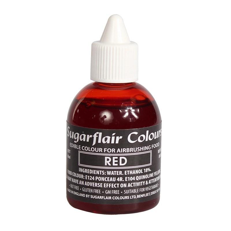 Sugarflair Airbrush Colour -MATT RED -Χρώμα Αερογράφου ματ κόκκινο 60ml