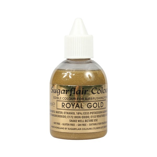 Sugarflair Airbrush Colour -GLITTER -ROYAL GOLD -Χρώμα Αερογράφου 60ml