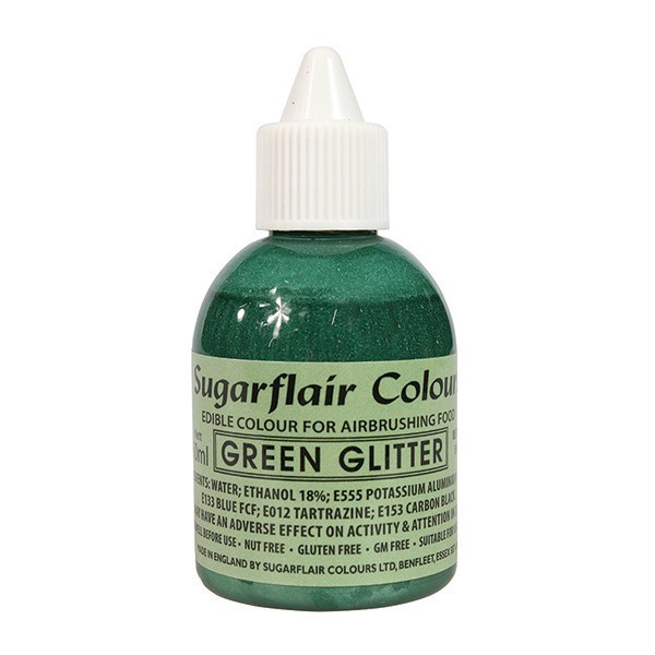 Sugarflair Airbrush Colour -GLITTER -GREEN -Χρώμα Αερογράφου 60ml