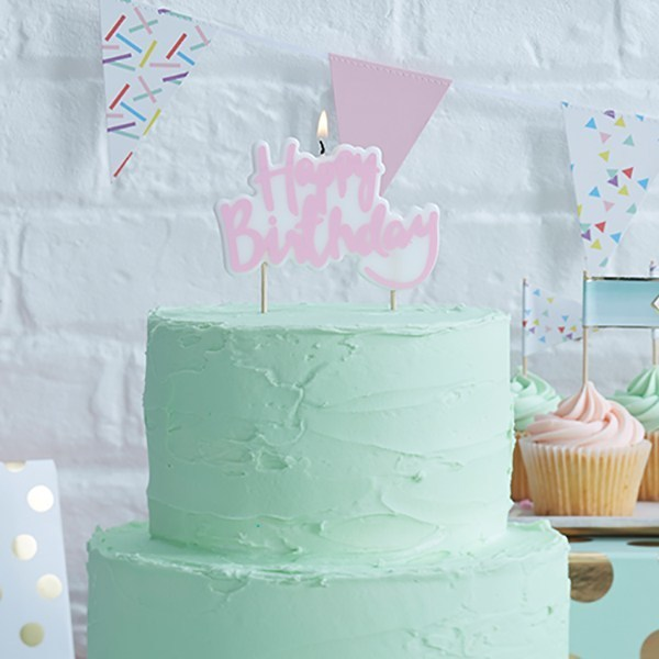 Candle in PINK 'Happy Birthday' -Κερί -Ροζ