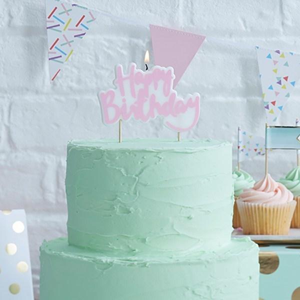 Candle in Pink - Happy Birthday - Κερί Χαρούμενα Γεννέθλια Ροζ - 10x7εκ