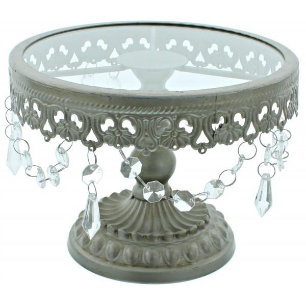 Cake Stand - Shabby Chic Silver - Βάση Για Τούρτα με Τζάμι - Μεταλλικό Χρώμα  - 20εκ