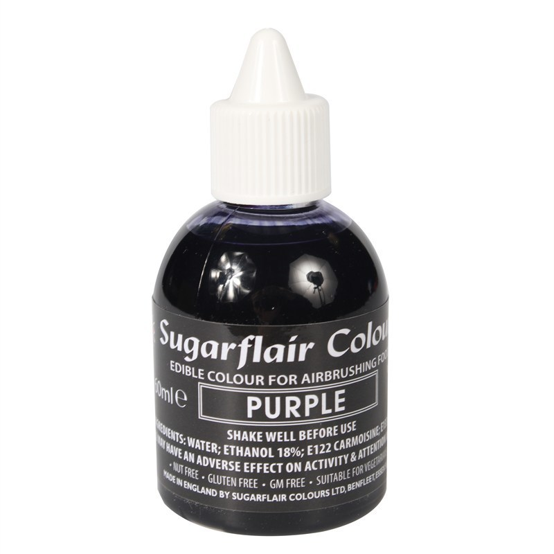 Sugarflair Airbrush Colour -MATT PURPLE -Μωβ -Χρώμα Αερογράφου 60ml