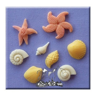 Alphabet Moulds -SHELLS & STARFISH -Καλούπι Κοχύλια & Αστερίες