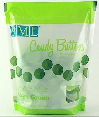 PME - Candy Buttons Light Green Vanilla Flavoured - Κουβερτούρα Γλυκά Κουμπάκια Ανοιχτό Πράσινο με Γεύση Βανίλια - 340γρ