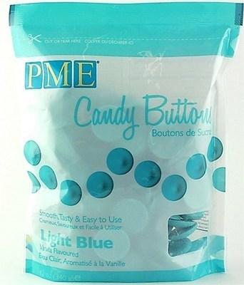 PME - Candy Buttons Light Blue Vanilla Flavoured - Κουβερτούρα Γλυκά Κουμπάκια Γαλάζια με Γεύση Βανίλια - 340γρ