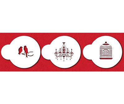 SALE!!! Designer Stencils - Mini Love Birds and Chandelier (c838) - Στένσιλ Μίνι Ερωτευμένα Πουλάκια, Κλουβί & Πολυέλαιος - Περίπου 1.5εκ