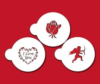 SALE!!! Designer Stencils - I Love You Set of 3 - Στένσιλ με Θέμα Σ'αγαπώ - 3τεμ/πακέτο - Περίπου 7.6εκ