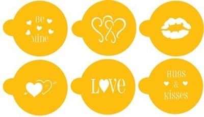 SALE!!! Designer Stencils - Valentine Cupcake, Candy & Cookie Tops - Στένσιλ με Θέμα Αγίου Βαλεντίνου - 6τεμ/πακέτο - Περίπου 2εκ