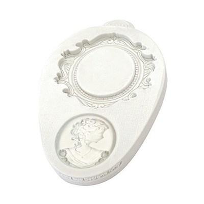 Katy Sue Mould Miniature Oval Frame & Cameo 2 -Καλούπι Μινιατούρα Κάδρο Οβάλ & Καμεό