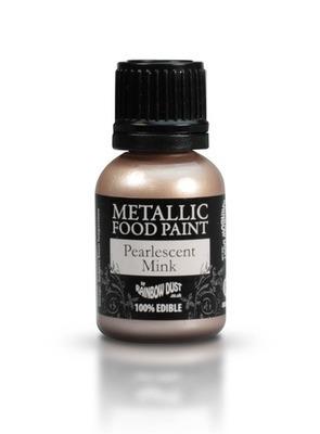 Rainbow Dust - Edible Metallic Food Paints Pearlescent Mink - Μεταλλικό Βρώσιμο Χρώμα Ζωγραφικής Περλέ Ροζ Κουφετί - 25ml