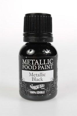 Rainbow Dust Edible Metallic Food Paints -BLACK -Μεταλλικό Βρώσιμο Χρώμα Ζωγραφικής -Μαύρο 25ml