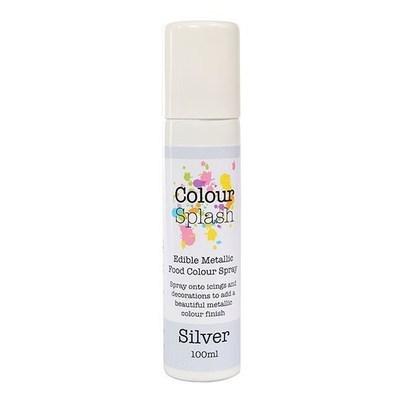 Colour Splash Edible SPRAY -METALLIC SILVER 100ml Βρώσιμο Σπρέϊ με Χρώμα -Μεταλλικό Ασημί