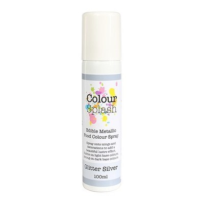 Colour Splash Edible SPRAY -METALLIC GLITTER SILVER 100ml Βρώσιμο Σπρέϊ με Χρώμα -Ασημί Μεταλλικό Γυαλιστερό