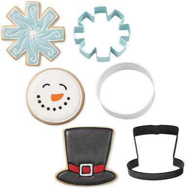 Wilton Christmas Cookie Cutter Set of 3 -SNOWMAN CUTTERS (HAT, SNOWFLAKE, ROUND FACE) -Σετ 3 κουπάτ καπέλο, χιονονιφάδα, στρογγυλό πρόσωπο 7.6εκ