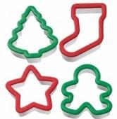 Wilton -Net of Cookie Cutters -Christmas Holiday Set of 4 (8cm)-Σετ 4 Κουπάντ Χριστουγεννιάτικες Διακοπές (8εκ)