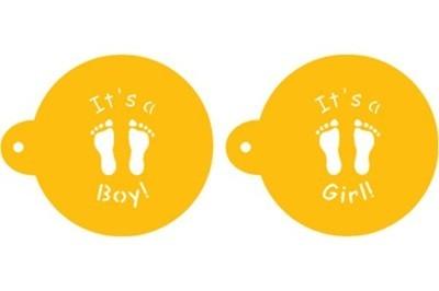 Designer Stencils - It's A Boy Or Girl Cookie Top Stencil - Στένσιλ με Θέμα Αγόρι ή Κορίτσι - Περίπου 2.8εκ