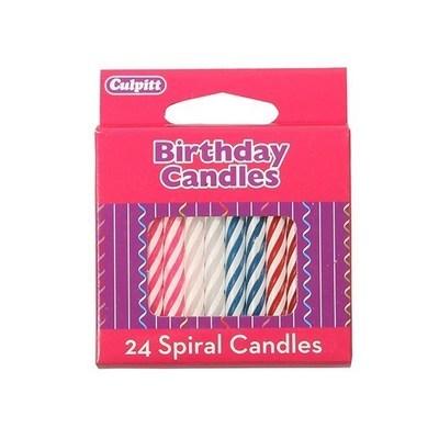 By Culpitt -Spiral Candle Multi-Coloured -Κεριά Σπειροειδή Χρωματιστά 24 τεμ.