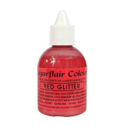 SALE!!! Sugarflair Airbrush Colour -GLITTER -RED -Χρώμα Αερογράφου 60ml κόκκινο γκλίτερ