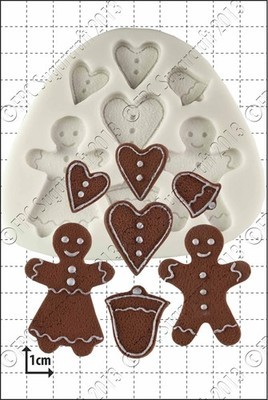 FPC Silicone Mould -GINGERBREAD PEOPLE -Καλούπι Μπισκοτένια Ανθρωπάκια