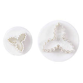 Cake Star Plunger Cutters -VEINED TRIPLE HOLLY PLUNGER -Κουπάντ με Εκβολέα Ανάγλυφο Τρίφυλλο Γκι  2 τεμ.
