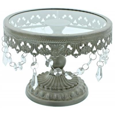 Cake Stand -Shabby Chic Silver -Βάση Για Τούρτα με Τζάμι -Μεταλλικό Χρώμα 20εκ