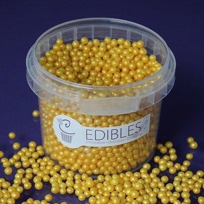 Purple Cupcakes Sugarballs -GOLD RUSH SHIMMER 4mm -Χρυσές/Κίτρινες Βρώσιμες Πέρλες 80γρ