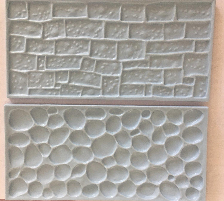 #Pan Decor - Impression Mats Set of 2 Cobblestone & Stone - Καλούπι Ανάγλυφο Πατάκι Πλακόστρωτο & Πέτρα - 2τεμ - 10x8εκ