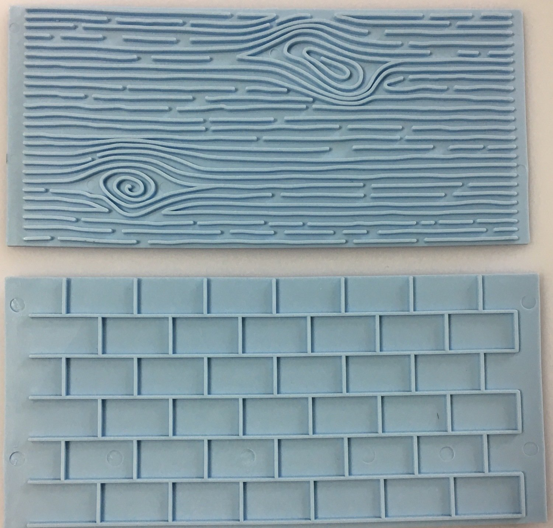#Pan Decor - Impression Mats Set of 2 Wood/Tree Bark & Brick Wall -Καλούπι Ανάγλυφο Πατάκι Φλοιό Δέντρου & Τούβλινο Τοίχο - 2τεμ - 10x8εκ