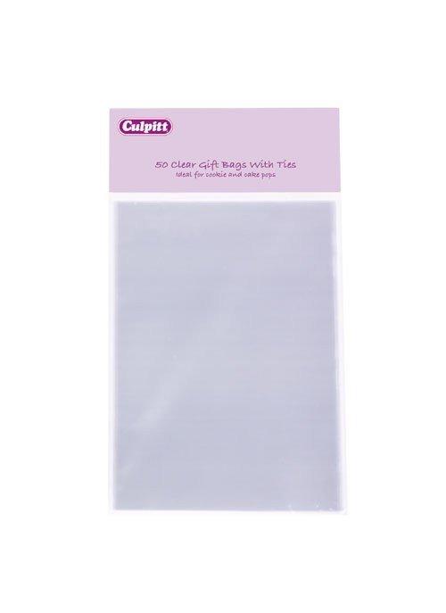 Culpitt - Small Clear Gift Bags with Ties 50pcs - Μικρά Διάφανα Σακουλάκια Δώρου με Δεσίματα - 50τμχ/πακέτο - 100x155χιλ