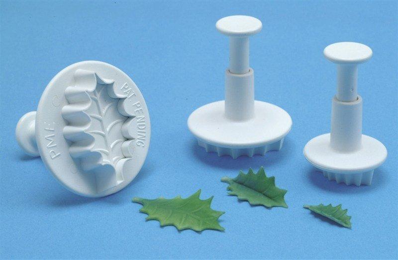 PME - Plunger Cutter Veined Holly Leaf 3pcs - Κουπάτ με Εκβολέα Ανάγλυφο Φύλλο Γκι - 3τεμ - 3.6 + 2.9 + 2εκ
