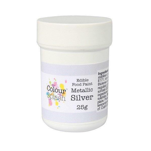 Colour Splash Edible PAINT -METALLIC SILVER -Βρώσιμο Χρώμα Ζωγραφικής -Μεταλλικό Ασημί 25γρ
