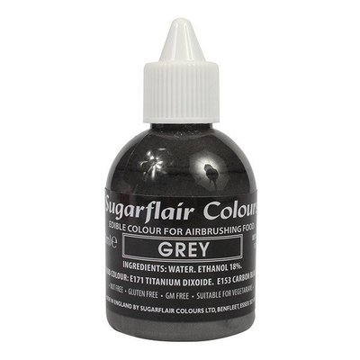 Sugarflair Airbrush Colour -MATT GREY -Χρώμα Αερογράφου ματ γκρι 60ml