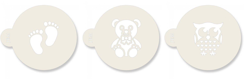 JEM Stencil -Set Of 3 BABY Designs -Footprints, Owl, & Teddy Bear -Στένσιλ Πατημασιές Κουκουβάγια, Αρκουδάκι 3 τεμ