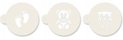 JEM Stencil Baby Set Of 3 Footprints Owl Teddy Bear -Στένσιλ Πατημασιές Κουκουβάγια, Αρκουδάκι 3 τεμ
