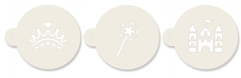 JEM Stencil - Set Of 3 PRINCESS designs -Crown, Wand, Castle -Στένσιλ Στέμμα Ραβδί Κάστρο