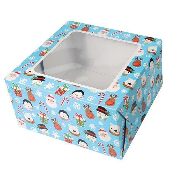 Box for Cakes - Christmas Winter 25x25xH13cm- Τετράγωνο Κουτί Χριστούγεννα 25x25xΥ13εκ