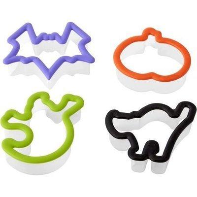 Wilton Halloween -Νet of 4 plastic cutters. Ghost, Cat, Bat, Pumpkin 8cm Φάντασμα, Γάτα, Νυχτερίδα, Κολοκύθα